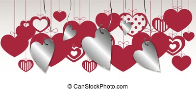 Cute hanging hearts isolated on a white background