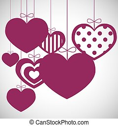 Sweet hanging hearts isolated on a white background