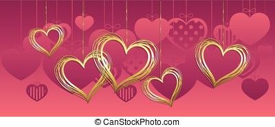 Cute hanging hearts - Cute hanging golden hearts full vector...