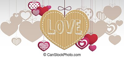 Paper hanging hearts isolated on a white background