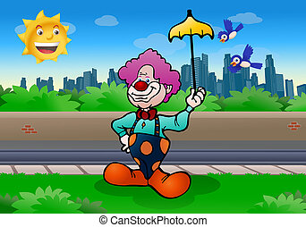 clown comedian - illustration of a purple hair funny clown...