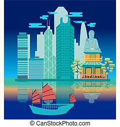 Travel skyline harbour with tourist junk. - Vector Travel...