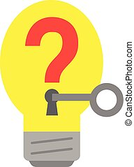 Light bulb with question mark and key.