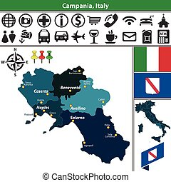 Campania with regions, Italy