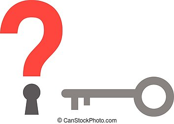 Question mark keyhole and key