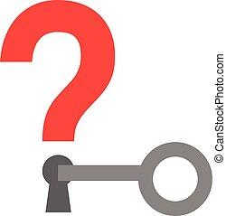 Key unlocking question mark keyhole