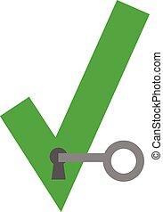 Key unlocking check mark keyhole
