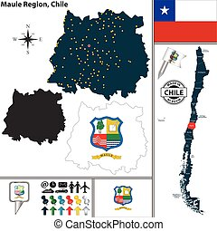 Map of Maule, Chile