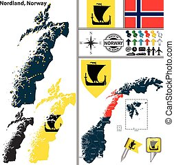 Map of Nordland, Norway