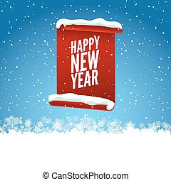 Happy New Year greeting card. Red curved paper banner on winter blue background with snow and snowflakes. Vector illustration.