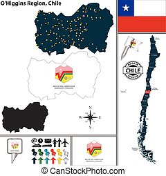 Map of OHiggins, Chile