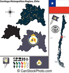Map of Santiago Metropolitan, Chile