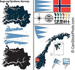 Map of Sogn og Fjordane, Norway - Vector map of county Sogn...