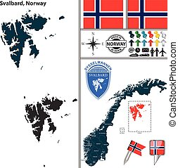 Map of Svalbard, Norway - Vector map of county Svalbard with...