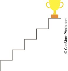 Trophy on top of stairs - Vector gold trophy on top of...