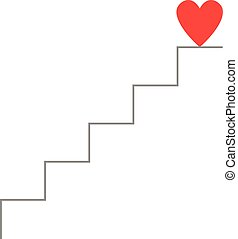 Heart on top of stairs - Vector red heart on top of stairs.