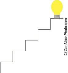 Light bulb on top of stairs - Vector yellow light bulb on...