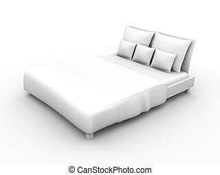 Bed - 3D rendered Illustration.