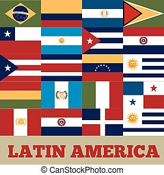 latin america countries - flags of latin america countries....