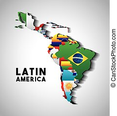 latin america map - Map of Latin America with the flags of...