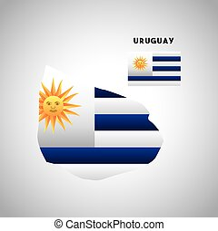 uruguay country design - uruguay country map with colors of...