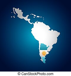 latin america map with the argentina flag over blue...