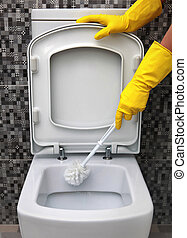 cleaning of toilet bowl