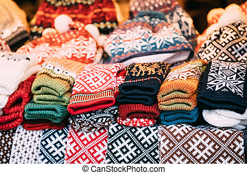 Colorful Traditional European Warm Clothes - Caps Hats And...