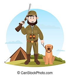 Cartoon hunter with rifle and hunting dog - Hunter with...