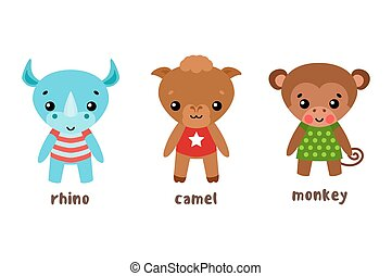 Rhino and camel, monkey or ape cartoon characters