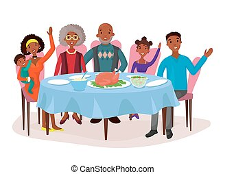 Happy afro american family at dinner table - Dinner with...