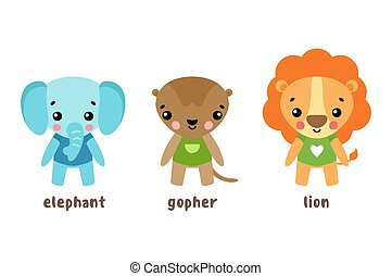 Lion and animal, gopher cartoon characters - Set of cartoon...