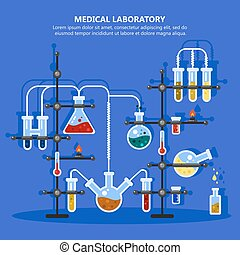 Pharmacy or medicine lab or laboratory with pipes - Medical...
