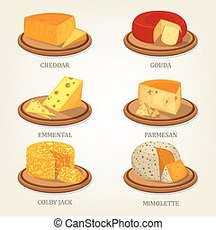 Sliced french and swiss cheese food icons - Cheddar and...