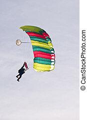 Paragliding - Sky diver at Balloon-Sail 2010, Kiel, Germany