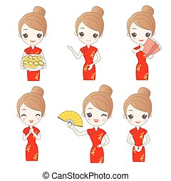 cartoon woman wear qipao