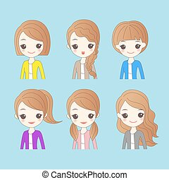 woman has different hair style - cute cartoon woman has...