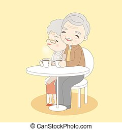 old couple drink coffee, great for your concept