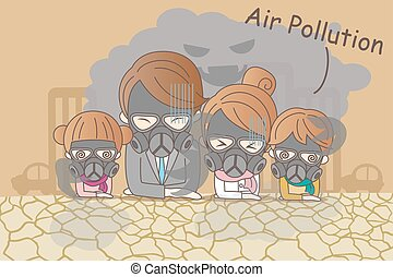 cartoon family with air pollution - cartoon family feeling...