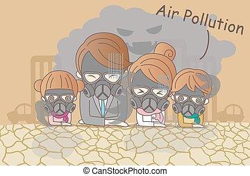 cartoon family with air pollution - cartoon family feeling...