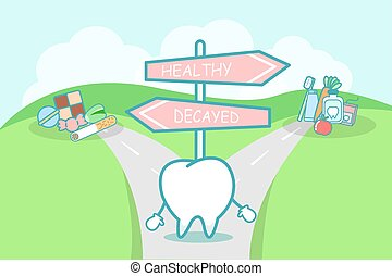 tooth between health and unhealth - cute cartoon tooth think...