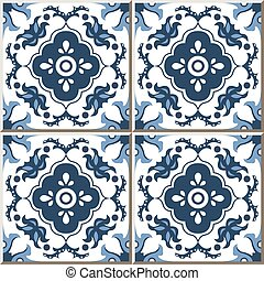 Ceramic tile pattern of antique blue flower kaleidoscope.