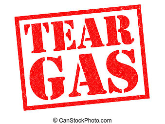 TEAR GAS red Rubber stamp over a white background.