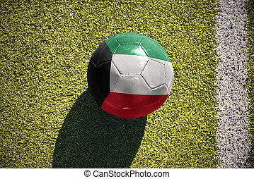 football ball with the national flag of kuwait lies on the...