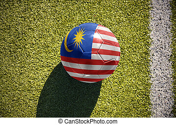 football ball with the national flag of malaysia lies on the...