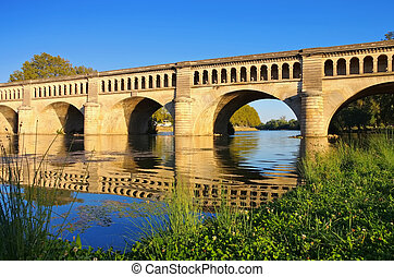 Beziers, The Orb Aqueduct - bridge carries the Canal du Midi...