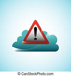 cloud storage design - cloud storage with alert sign icon...