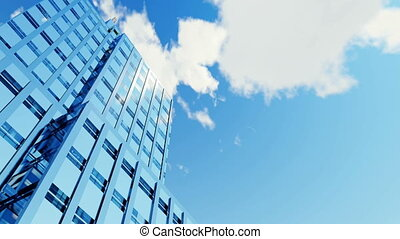 High rise building and time lapse clouds sky 4K