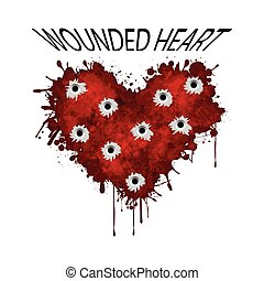 Wounded heart - Illustration wounded heart on a white...