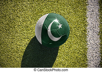 football ball with the national flag of pakistan lies on the...